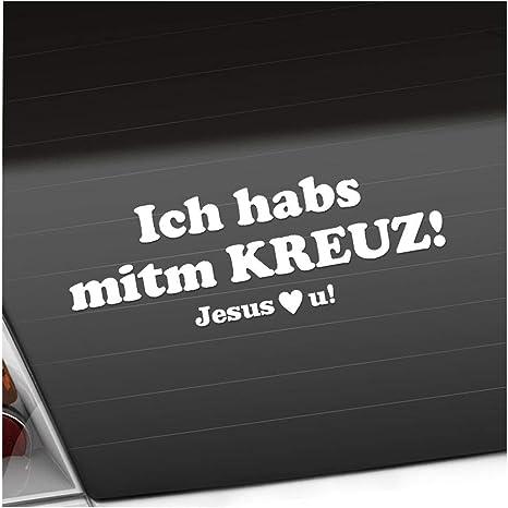 Ich Hab Kreuz Jesus Love U 20 X 7 Cm In 15 Farben Neon Chrom Sticker Aufkleber Auto