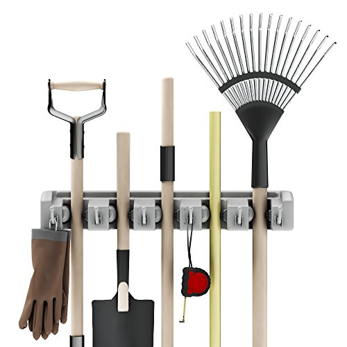 Shovel, Rake and Tool Holder with Hooks- Wall Mounted Organizer for Garage, Closet, or Shed-Hang Home and Garden Tools-Space Saving Rack by Stalwart Garden Tool Rack