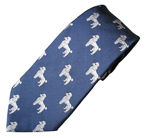 Poodle (White) Tie (Men's Dog Breed Neck Tie) (Poodle Tie)