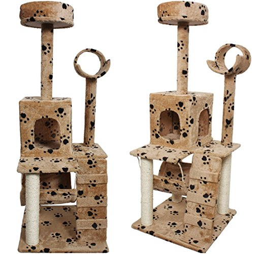 Great Popular Size 52'' Cat Tree Kittens Furniture Activities Condo Scratch Post Color Beige Paws by GVGs Shop