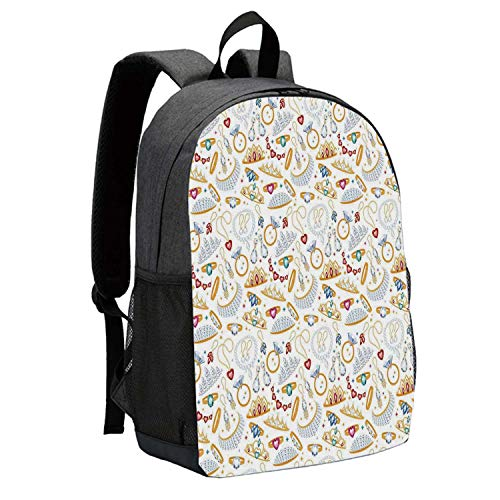 Pearls Durable Backpack,Pattern with Accessories Diamond Rings and Earring Figures Image Digital Print Decorative for School Travel,12
