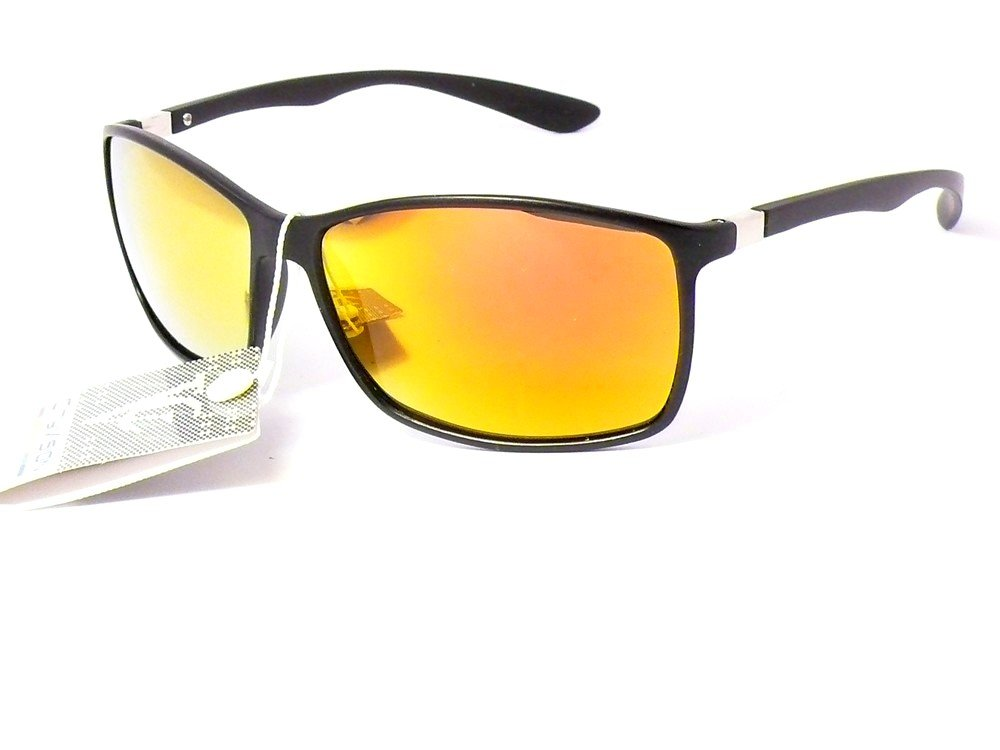 lunettes de soleil mixte homme femme fashion 023551 (largeur:135mm hauteur:42mm, monture noir mat verres revo jaune orange)