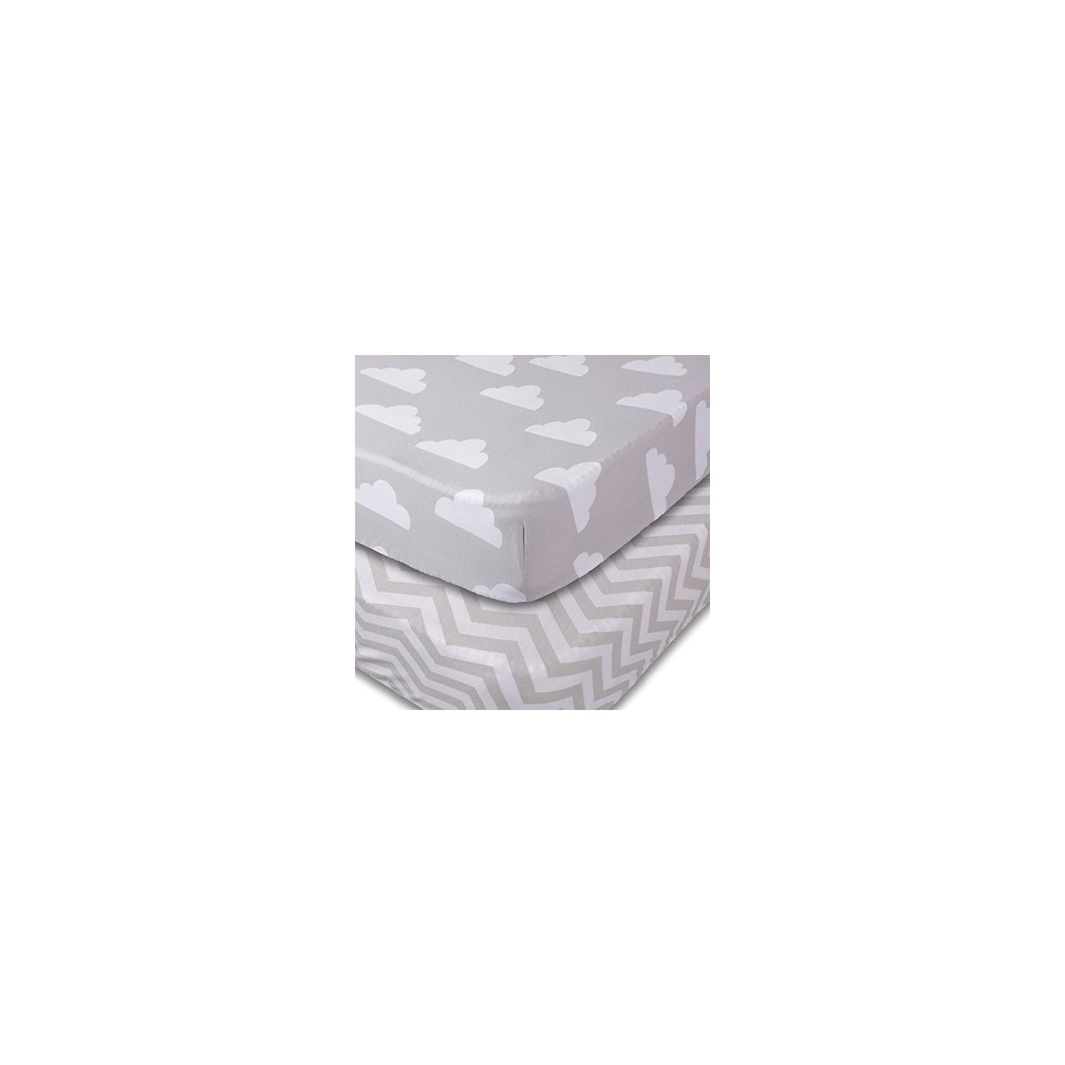 Crib Sheets, 2 Pack Unisex Clouds and Chevron Fitted Soft Jersey Cotton Bedding
