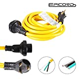 EPICORD RV Trailer Extension Cord 30Amp Male with Grip Handle to 30Amp Female with Twist Lock Connector Adapter, 25Feet, 125V/250V