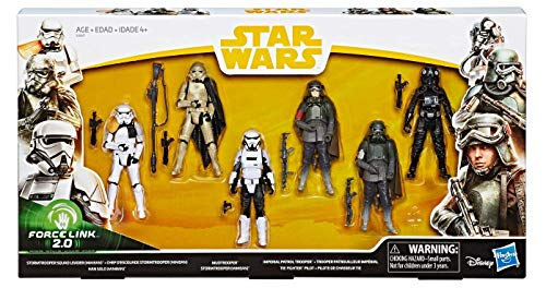 Solo A Star Wars Story Force Link 2.0 Tie Fighter Pilot, Stormtrooper Squad Leader, Han Solo, Mudtrooper, Stormtrooper (Mimban)]()