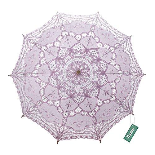 TopTie Lace Umbrella Wedding Parasol Costume Accessory Bridal Photograph-Pink
