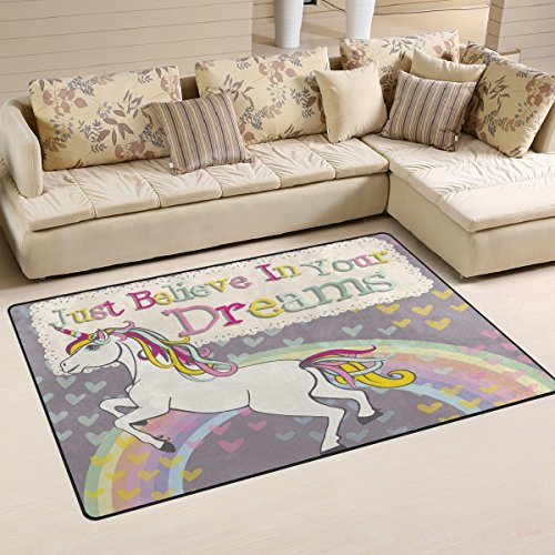 Naanle Rainbow Unicorn Area Rug 3 x5 , Inspirational Motivational Quote Polyester Area Rug Mat for Living Dining Dorm Room Bedroom Home Decorative