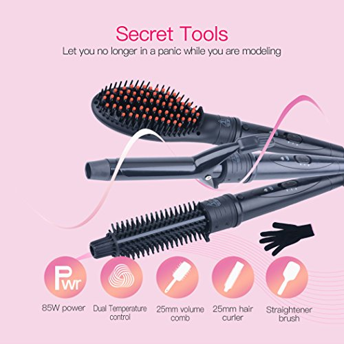 Price comparison product image inkint 3-in-1 Interchangeable Ceramic LED Display Hair Curling Iron & Hot Air Brush & Hair Straightener Comb Set with 1pcs Heating Resistant Glove