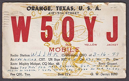 W5OYJ Jerry Bird Orange TX QSL card 1949