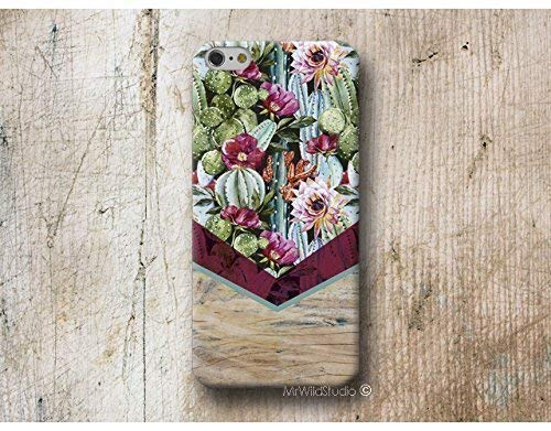 Cactus Chevron Bois Print Coque É tui Phone Case pour iPhone X XR XS MAX 4 4s 5 5se se 5C 5S 6 6s 7 Plus iPhone 8 Plus iPod 5 6