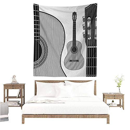Guitar DIY Tapestry Monochrome Design Striped Acoustic Classical Instruments Folk Country Music Concert Living Room Background Decorative Painting 60W x 91L INCH Black -