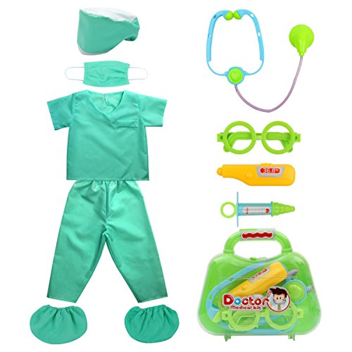 Fedio Kid's Scrubs Doctor Role Play Costume Dress up Set with Doctor Medical Kit for Toddler Children Ages 3-5 (Green)