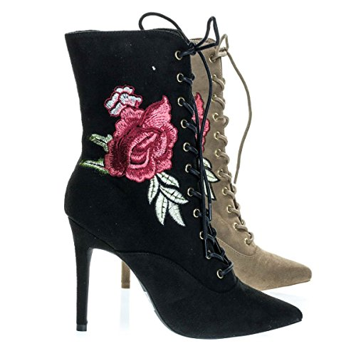 Wild Diva Akira147A Black F-Suede Women Corset Combat Boot w Rose Metallic Embroidered Stitch High Heel -6 by Wild Diva