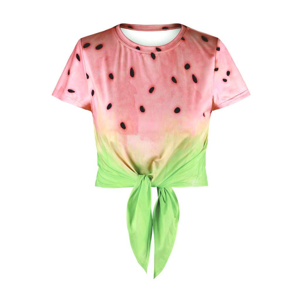 Jeramery Women's Casual Short Sleeve Tops O Neck Shirt Bandage Knot Summer Loose Tunic Tee Shirt Blouse Tops Red