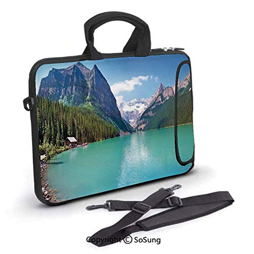 15 inch Laptop Case,Mountain and Lake Louise Panorama in Banff National Park Alberta Canada Neoprene Laptop Shoulder Bag Sleeve Case with Handle and Carrying & External Side Pocket,for Netbook/MacBook