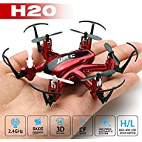 Qsmily Mini Drone JJRC H20 3D Rollover Headless Model Nano RC Quadcopter 2.4G 4CH 6 Axis Flying Helicopter Remote Control Toys (Red)