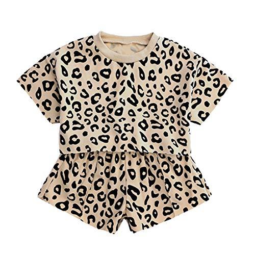 Mary ye Little Girl 2Pcs Summer Top Shorts Kids Leopard Short Sleeve Outfit Set