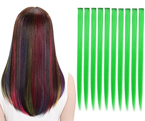 LiaSun 10Pcs/set Multi-Colors Straight Highlight Clip in Hair Extensions 20 Inch Colored Party Hair Pieces (Green)]()