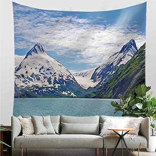YOLIYANA Lake House Decor Durable Tapestry,Mountain and Lake in Anchorage Alaska Springtime Sunny Day Scenic View Picture for Bed Room,20