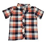 Hibou Clothing- Little Boys Button Down Party Shirt (Buffalo Orange, 6)