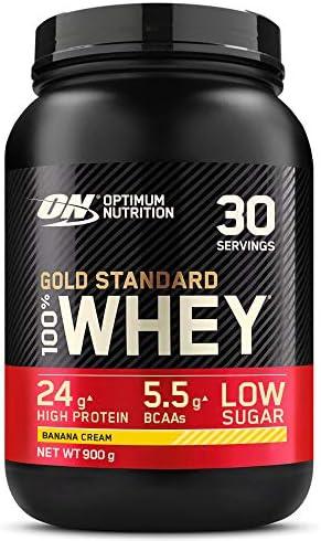 Optimum Nutrition Gold Standard 100% Whey Proteína en Polvo, Glutamina y Aminoácidos Naturales, BCAA, Crema de Plátano, 30 Porciones, 900g, Embalaje ...