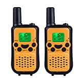 DuaFire Durable Kids Walkie Talkies, 2 Way Radio for Kids Playing Games, Back-lit LCD Screen and Strengthen VOX Free Your Hands (Orange)
