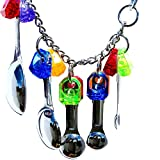 SODIAL Bird Toys Swing Parrot Cage Spoon Bell Hanging Climb Pet Parrot Toys Cockatiel Parakeet African Grey Bird Bites Chew Sound Toys