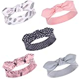 Yoga Sprout Baby Girls' Cotton Headbands, Feather Floral 5Pk, 0-24 Months