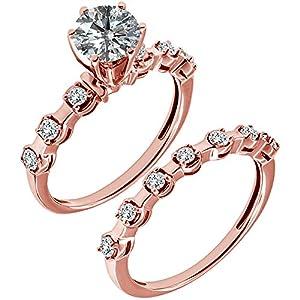1.14 Carat G-H I2-I3 Diamond Engagement Wedding Anniversary Halo Bridal Ring Set 14K Rose Gold