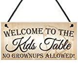 Red Ocean Kids Table No Grownups Novelty Hanging Wedding Decoration Plaque Childrens Sign
