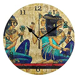 AUUXVA KUWT Ancient Egyptian Parchment Wall Clock Silent Non-Ticking Round Clock Acrylic Art Painting Home Office School Decor-9 inch,no Frame,Wall Mount and Table top