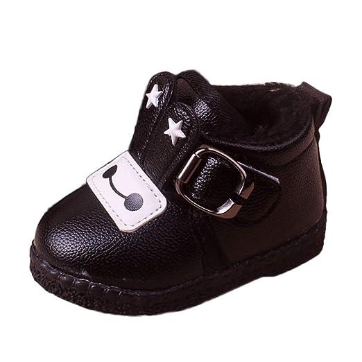 YanHoo Zapatos para niños Zapatos de otoño e Invierno Dibujos Animados Infantiles más Botas de Piel de Terciopelo cálidas Botas de Nieve Botas de algodón ...