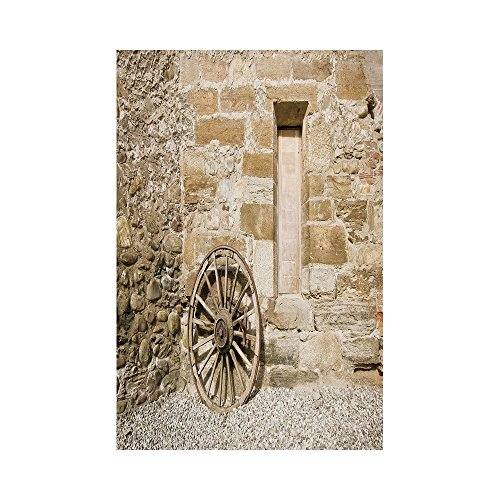 Barn Garden Outdoor Wood (Polyester Garden Flag Outdoor Flag House Flag Banner,Barn Wood Wagon Wheel,Ancient Rural Facade with Old Wheel Traditional Country House Decorative,Brown Light Brown,for Wedding Anniversary Home Outdo)