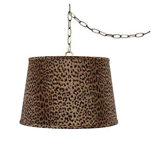 Upgradelights Portable Pendant Leopard Lamp Swag Lamp Drum Lamp ()