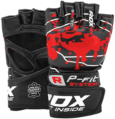 RDX MMA Gloves for Martial Arts Grappling Training, Approved by SMMAF, Open Palm Cowhide Leather Sparring Mitts…