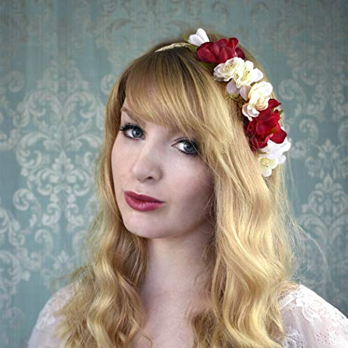 Aukmla Dusty Rose Blush Burgundy Flower Crown Floral Headband Bridal Hair Wreath Wedding Flower Halo Flower Girl Crown for Women and Girls