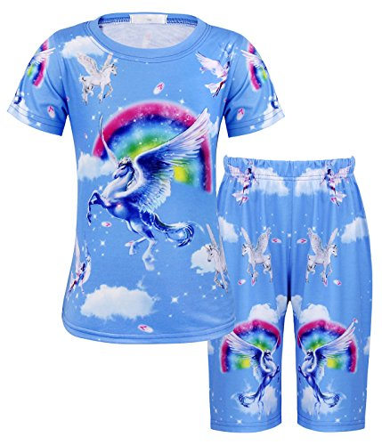 (AmzBarley Little Girls Unicorn Rainbow Pajamas Set Two Pieces Theme Party Cute Horse Sleepwear Night Home Wear Toddler Outfits Blue Size 4T)