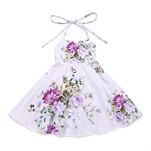Flofallzique Easter Floral Girls Dress Summer Vintage Boho Cotton Toddler Clothes (6, Purple)