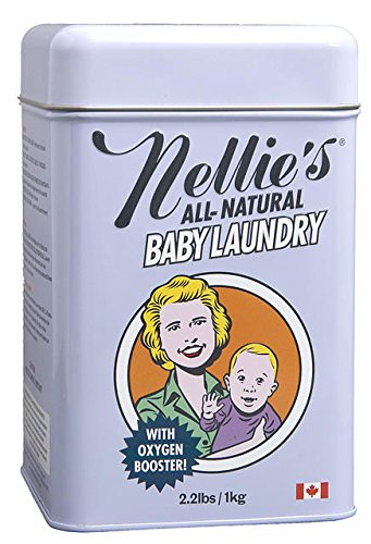 Nellie's All Natural Baby Powder Laundry Detergent Tin (80 Loads) Safe For Infants Sensitive Skin, Non-Toxic - 2.2 Pounds