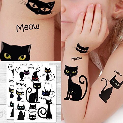 Supperb Temporary Tattoos - Black Cute Cats (Set of 2)