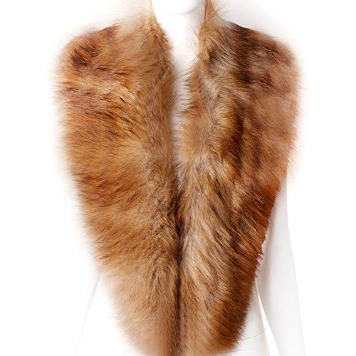 - Dikoaina Extra Large Women's Faux Fur Collar for Winter Coat (100cm, Rusty Fox)