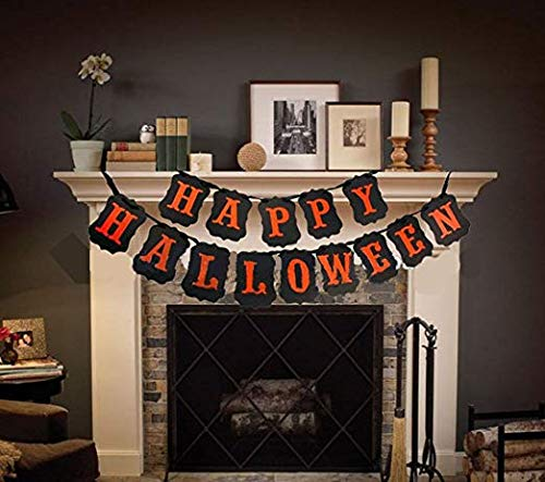 Dmaxia Happy Halloween Banner,Pumpkin Party Decorations,Home School Office Party Garland Supplies Door Cover Garden Decor Photo Props Hanging Accessory -