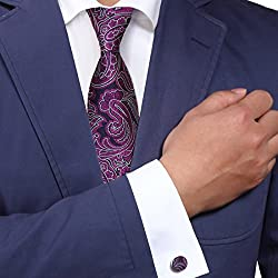 Y&G YABB0009 Blue Magenta Paisley Wedding Woven Jacquard Silk Tie Excellent Gift Giving Neck Tie
