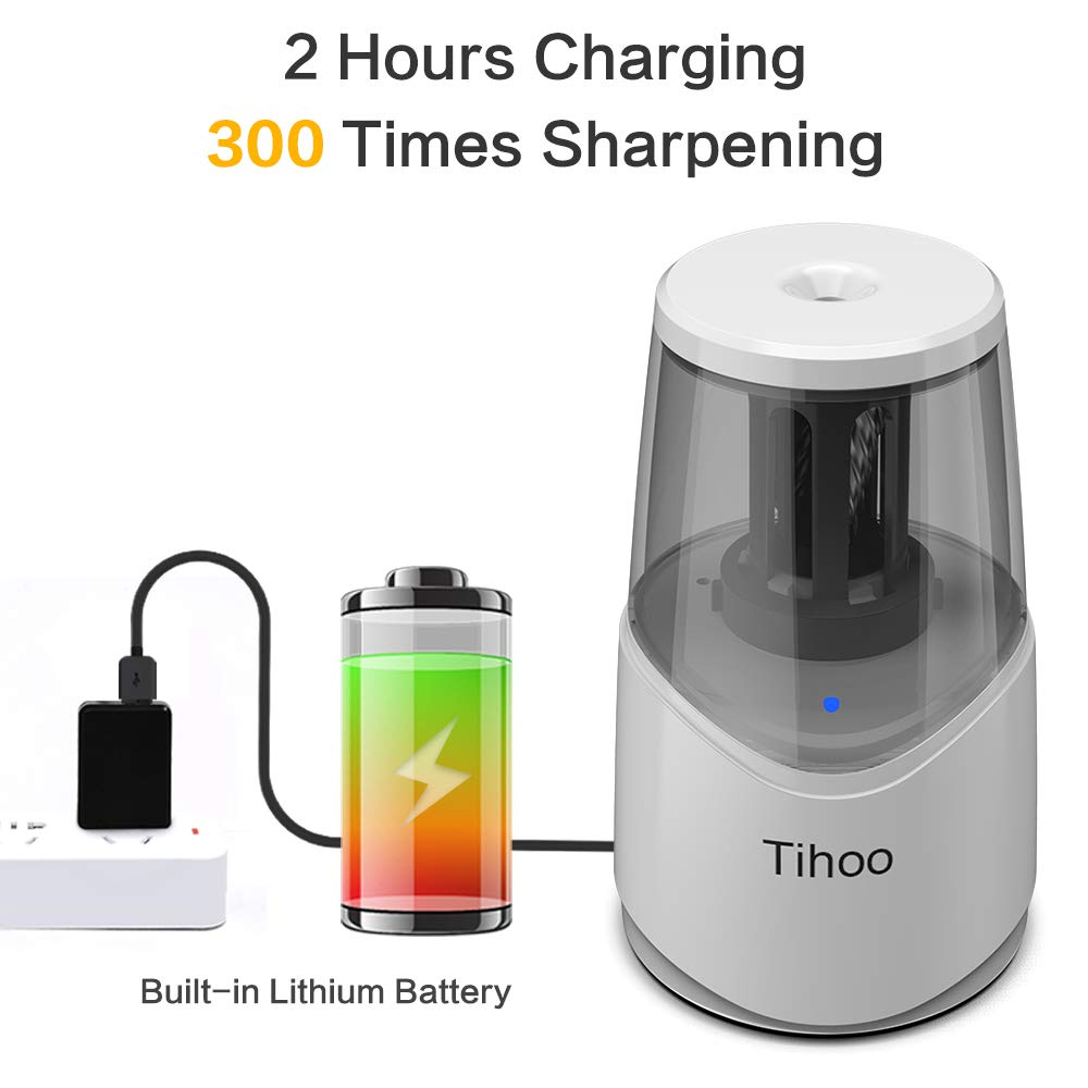 Rechargeable Powerful Electric Pencil Sharpener with USB Cable Fast Charge & Sharpen Durable Helical Blade Auto Stop for No.2 & Colored 6-8mm Pencils in School Classroom/Office/Home by TC (Image #2)