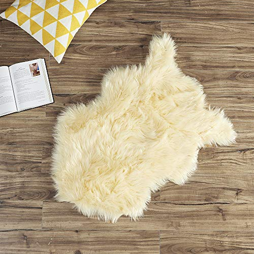 Ojia Shag Area Rug Faux Fur Sheepskin Area Rug, Super Soft Chair Cover Seat Cushion for Couch, Living Room Bedroom Floor - Yellow Cream, 2ft x - Sheepskin Rug Wash