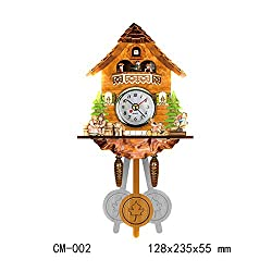 VT BigHome 1pc Antique Cuckoo Wall Clock Vintage Bird Bell Timer Wooden Clocks Swing Alarm Clock Wall Watch Farmhouse Home Decor