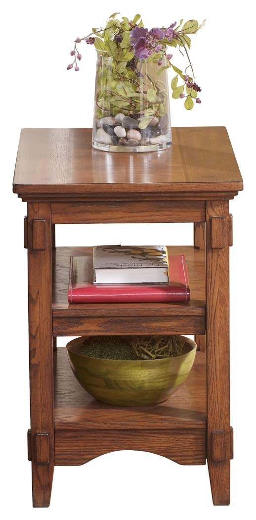 Rectangular End Table Signature Design by Ashley T719-7 Ashley Furniture - Cross Island Rustic Oak Chair Side End Table - Medium Brown