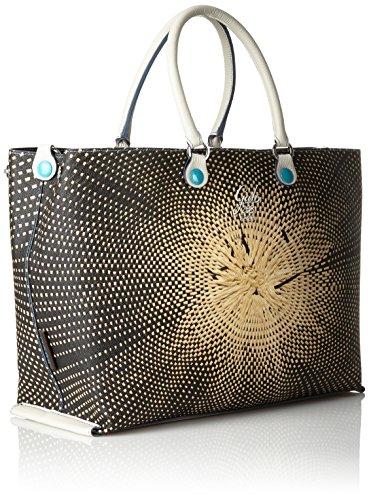 GABS - Tania Tg M - Shopping Studio Print + Vela, Borsa Donna Multicolore (298 - Paglia)