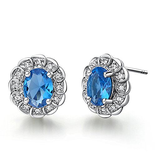 Price comparison product image FENDINA Exquisite 18K White Gold Plated Earring Studs Birthstone Oval Cut Tiny CZ Paved Created Diamond Earrings for Women