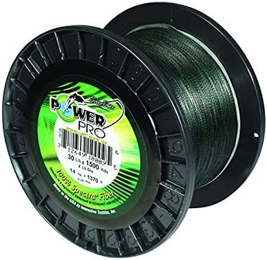 Moss Green Power Pro 21100150500E Braided Spectra Fiber Fishing Line 15 lb//500 yd